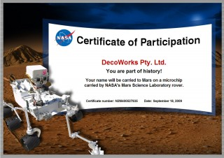 Certificate of participation of going to Mars