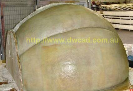 Large mould fibreglassed section