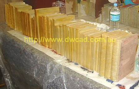 Gold paint applied to spines