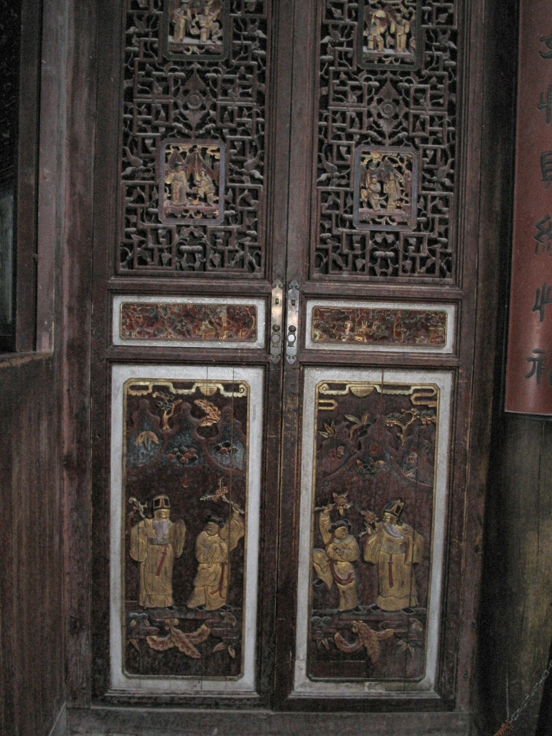 Chinese lattice doors with gilded carvings