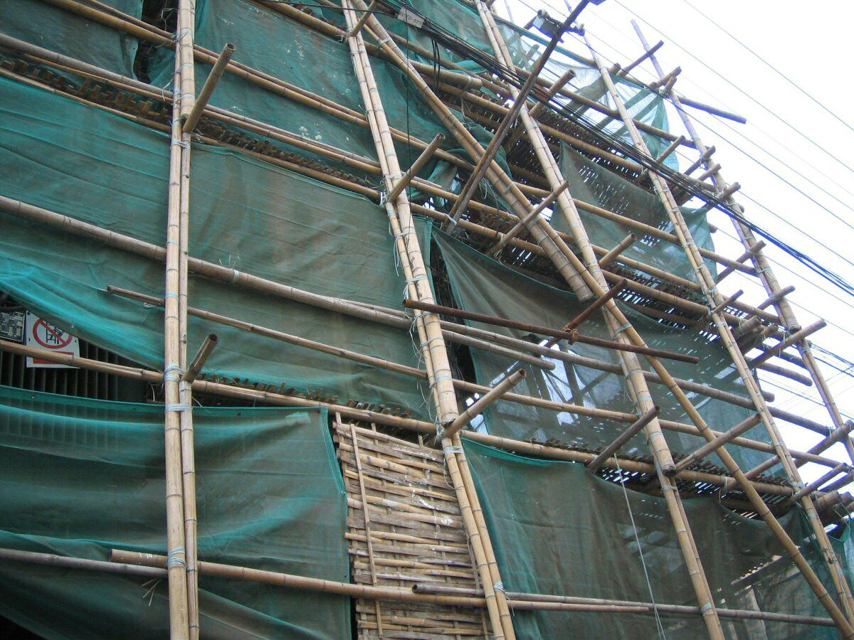 Multi-storey bamboo scaffolding