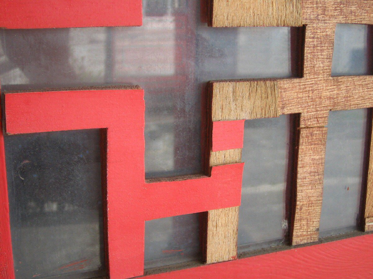 Confucius temple delaminated plywood cutouts