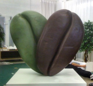 Giant coffee bean sculpture
