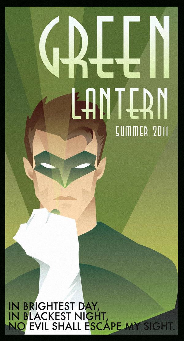 Green Lantern Art Deco poster