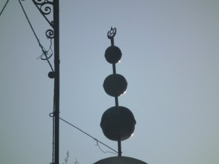 3 sphere minaret jamour with star and crescent moon