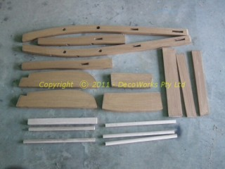 Wooden chair parts cut and ready for assembly