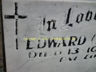 Detail of letters before repair