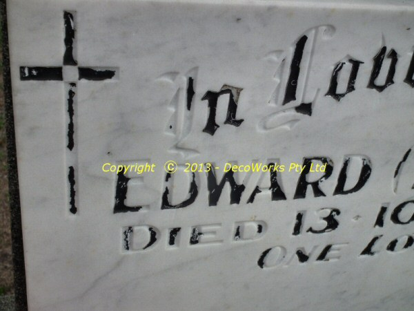 Headstone lettering repair for Headstone lettering
