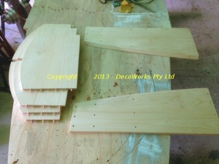 Cabinet panels drilled and dowelled