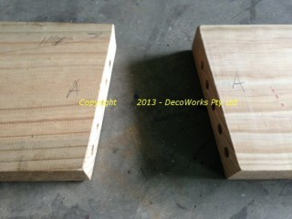 Dowel holes ready for dowels