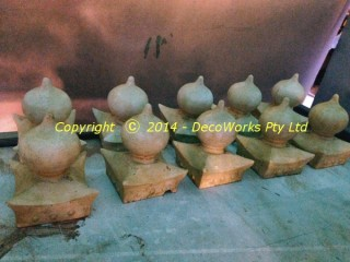 Finials sanded and sealed with shellac