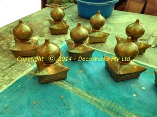 Completed custom oriental finials