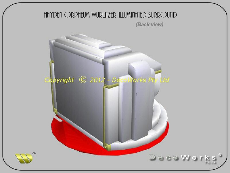 Hayden Orpheum Wurlitzer illuminated surround - back view