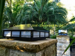 Custom Japanese style pillar lights for driveway entrance