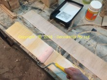Applying PVA glue to the plywood laminates