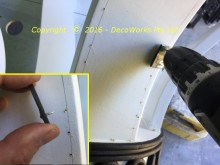 Drilling guide holes for upholstery nails