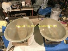 The two completed fibreglass mould halves