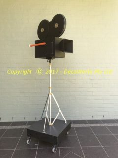 Prop movie camera on dolly platform