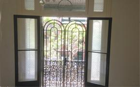 Art Deco balcony double security doors