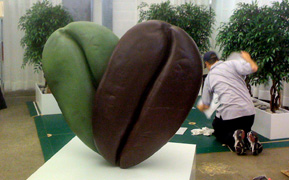 Large coffee bean sculpture