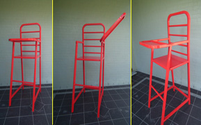 Oversize red highchair