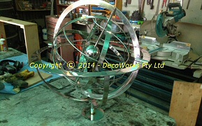 Completed armillary fitted to the support cradle