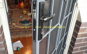 Close up of security door lock