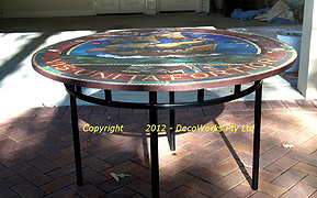 Round steel mosaic table base