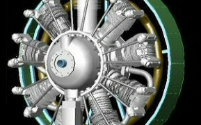 3D render of whole engine assembly